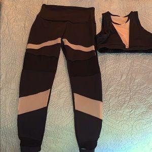 Black with nude mesh yoga set